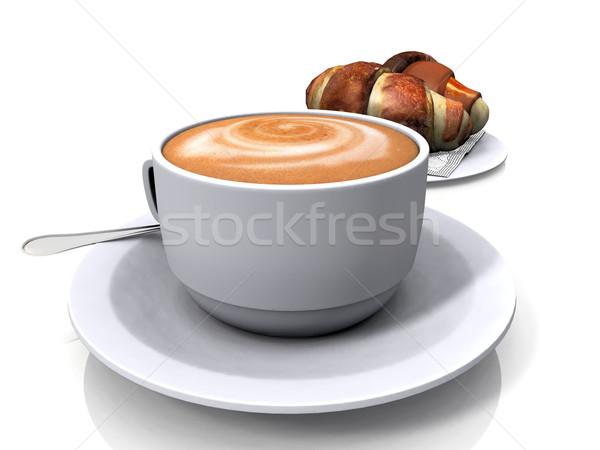 Kahve kruvasan beyaz ekmek kafe sıcak Stok fotoğraf © njaj