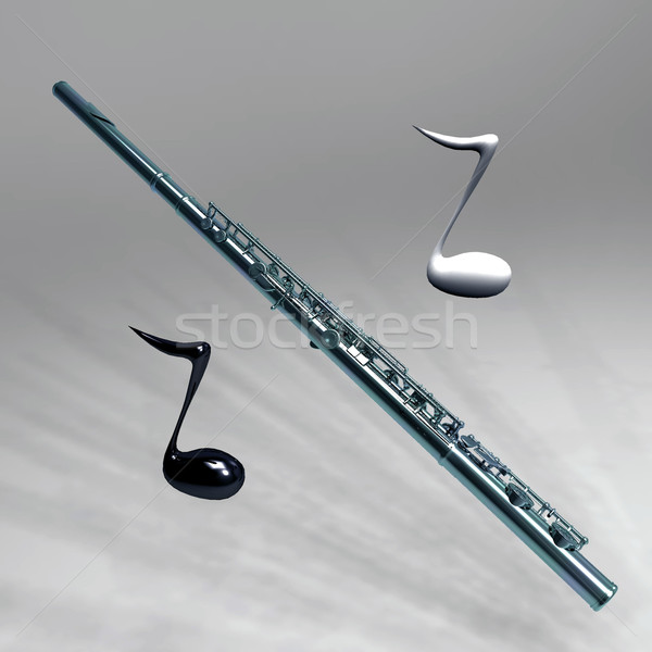transverse flute and the notes Stock photo © njaj