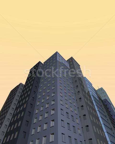 Wieżowce różny miasta niebieski niebo biuro Zdjęcia stock © nmarques74