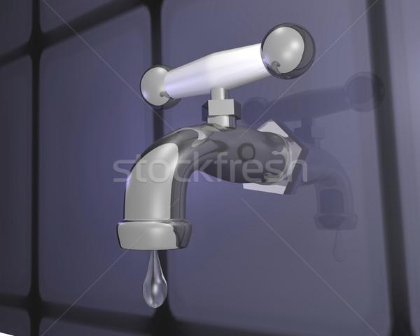 Grifo 3D cromo caída agua Foto stock © nmarques74
