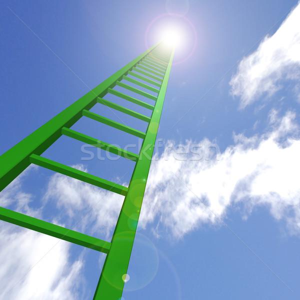 Niebo drabiny zielone w górę działalności tle Zdjęcia stock © nmarques74