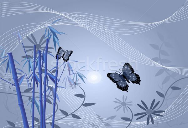 Bambusa kwiatowy obraz kwiaty motyle pozostawia Zdjęcia stock © nmarques74