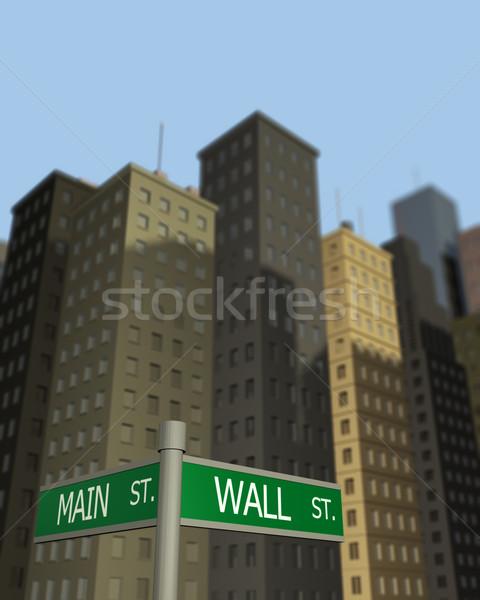 Parede principal sinais negócio rua edifícios Foto stock © nmarques74
