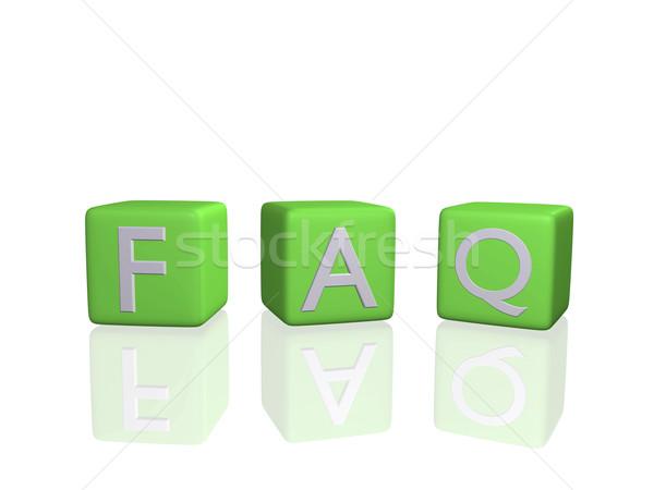 Faq obraz 3D odizolowany biały Zdjęcia stock © nmarques74