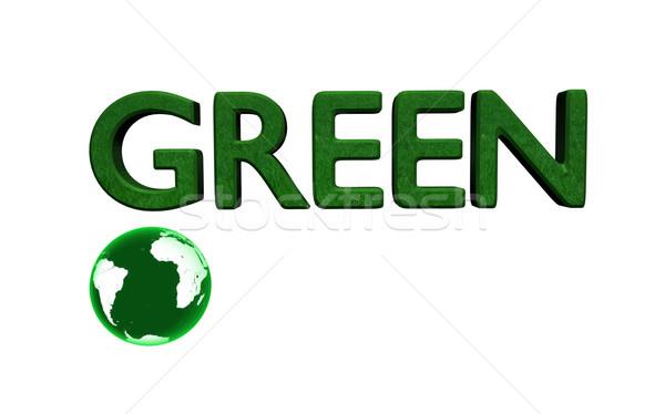 Zielone wiadomość 3D świecie biały Zdjęcia stock © nmarques74