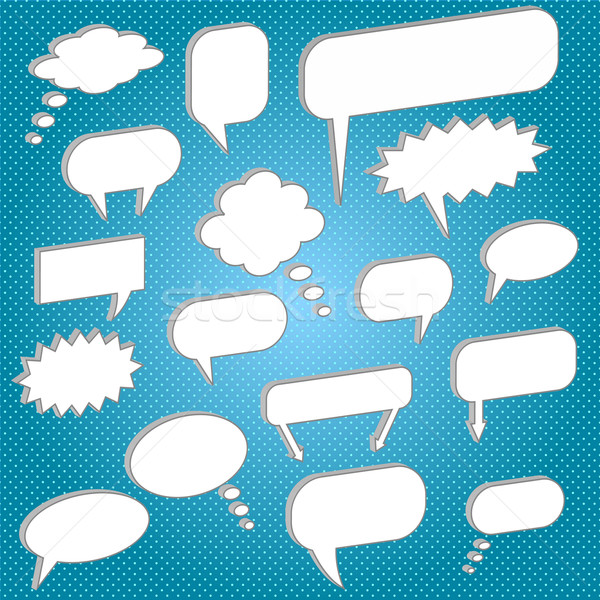 Image of various chat bubbles on a colorful blue background. Stock photo © nmarques74