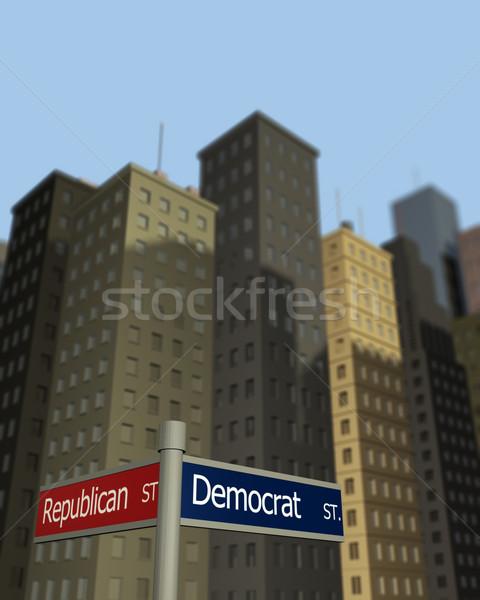 Demokrata republikánus utcák feliratok mutat kettő Stock fotó © nmarques74