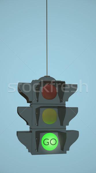 Zielone świetle 3D światłach niebo Zdjęcia stock © nmarques74