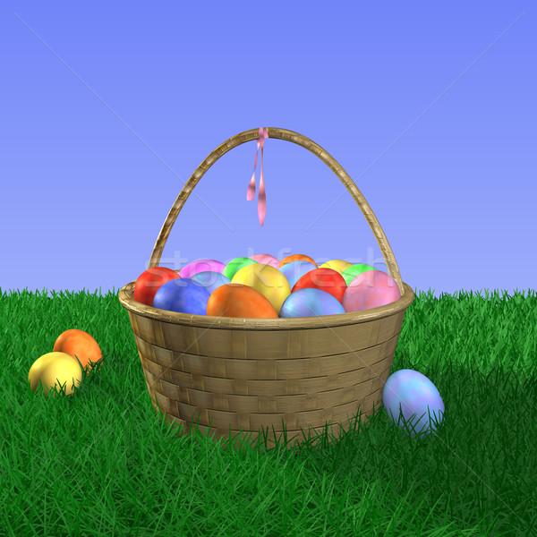 Wielkanoc koszyka jaj trawy niebo charakter Zdjęcia stock © nmarques74