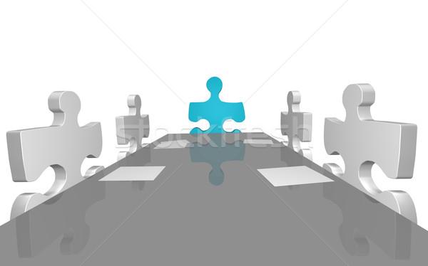 Firmy spotkanie obraz puzzle biuro biznesmen Zdjęcia stock © nmarques74