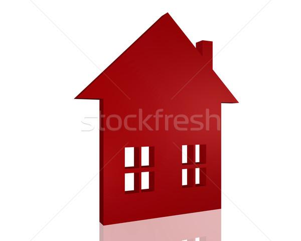 3D domu ikona obraz odizolowany biały Zdjęcia stock © nmarques74