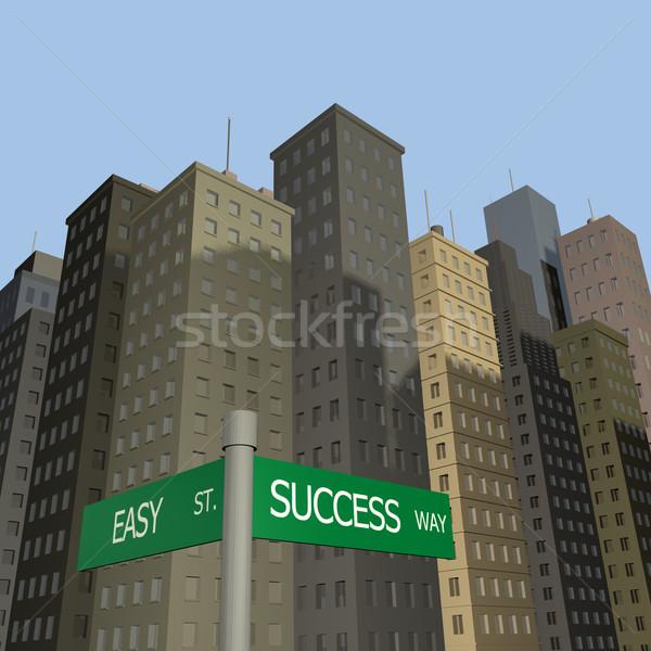 Sukces sposób znaki łatwe ulicy niebo Zdjęcia stock © nmarques74