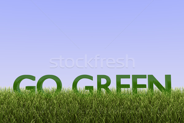 Zdjęcia stock: Zielone · 3d · tekst · trawy · Błękitne · niebo · biały · recyklingu