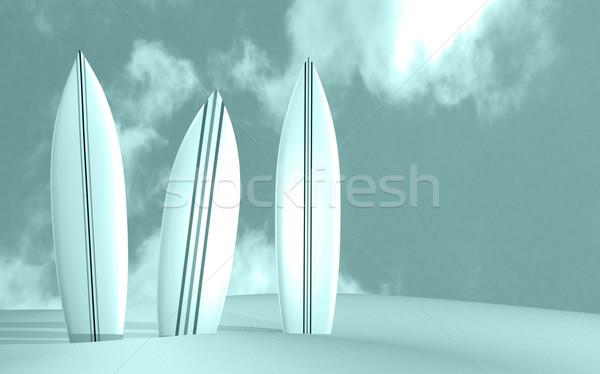 Obraz trzy słoneczny plaży tle Zdjęcia stock © nmarques74