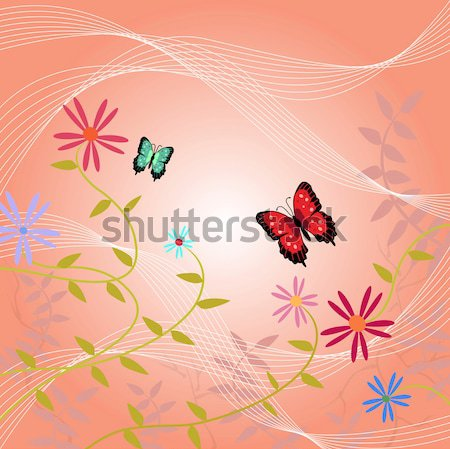 Kwiatowy obraz motyle pozostawia kwiaty miłości Zdjęcia stock © nmarques74