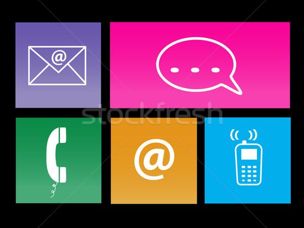 Kommunikáció metró ikonok kép különböző színes Stock fotó © nmarques74