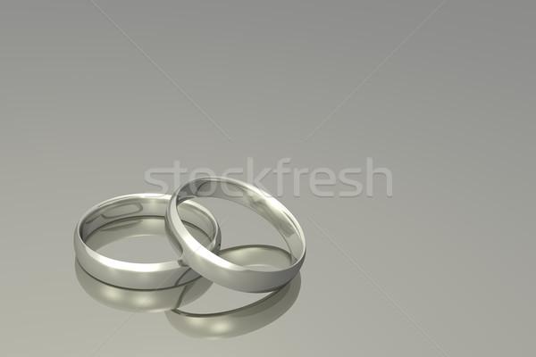 Foto stock: Prata · anéis · de · casamento · casamento · família · amor · ouro