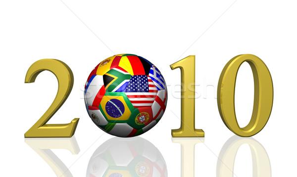 2010 piłka nożna obraz piłka rok flagi Zdjęcia stock © nmarques74
