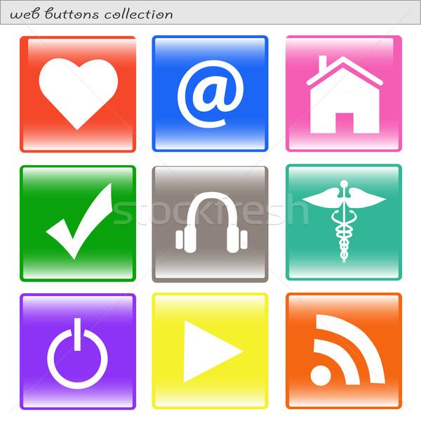 Placu przyciski obraz różny kolorowy internetowych Zdjęcia stock © nmarques74