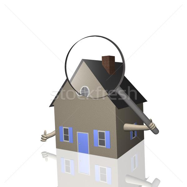 Domu inspekcja 3D domu lupą Zdjęcia stock © nmarques74