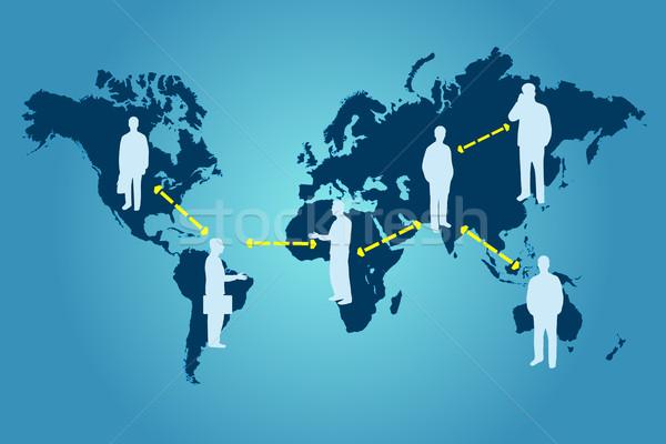Globalny sieci obraz ilustracja mapie świata działalności Zdjęcia stock © nmarques74