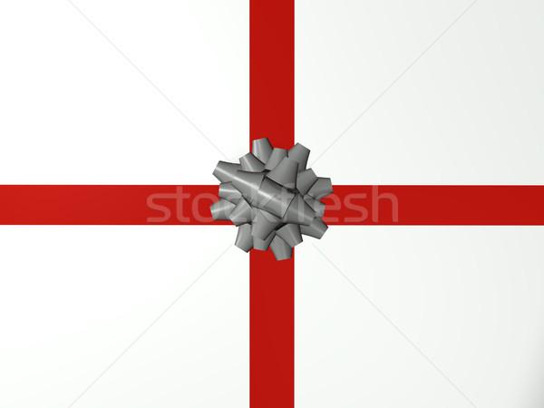 Srebrny łuk urodziny tle dar Zdjęcia stock © nmarques74