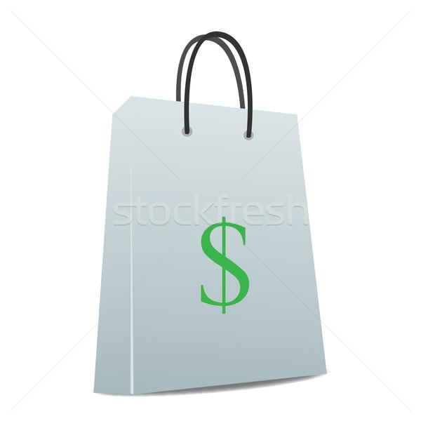 Obraz torbę na zakupy znak dolara podpisania zielone sklep Zdjęcia stock © nmarques74
