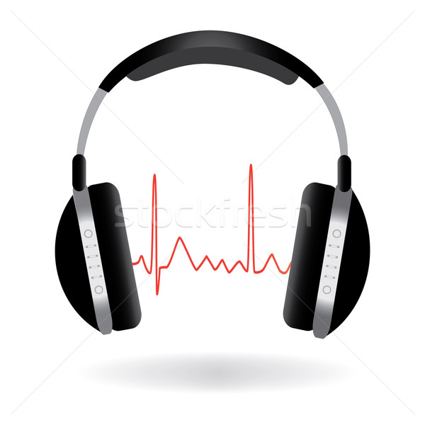 Image of headphones and sound wave isolated on a white background. Stock photo © nmarques74