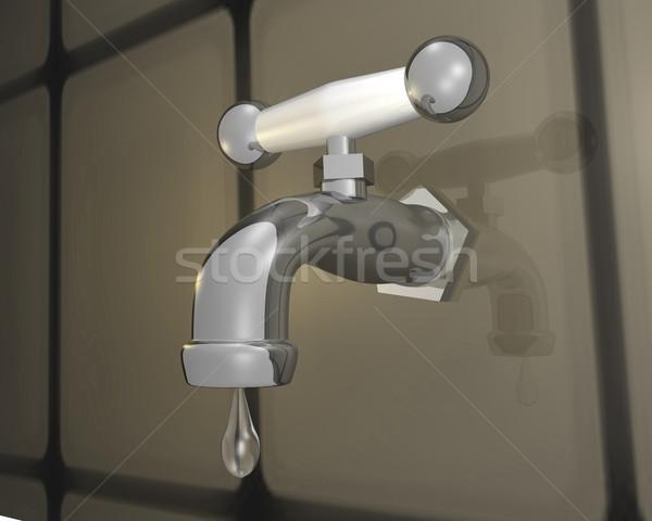 Sızıntı 3D krom damla su Stok fotoğraf © nmarques74