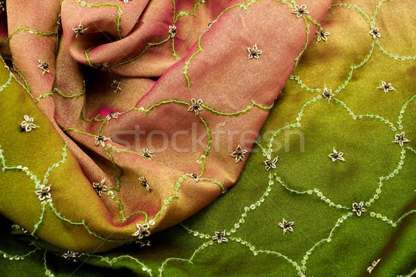 Pink and green satin textile Stock photo © Nneirda