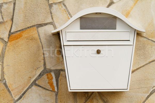 Brievenbus foto witte mailbox muur kantoor Stockfoto © Nneirda