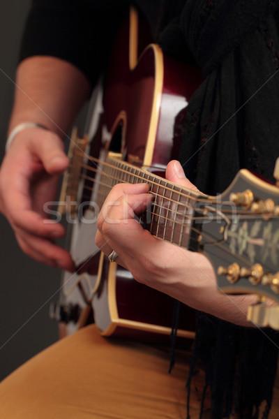 Stock fotó: Játszik · gitár · fotó · fiú · játék · zene