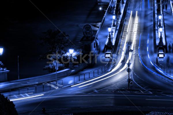 Openbaar vervoer hangbrug nacht Boedapest water weg Stockfoto © Nneirda
