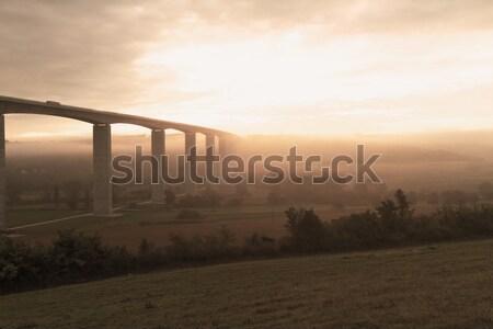 Büyük karayolu Macaristan gündoğumu sonbahar Stok fotoğraf © Nneirda