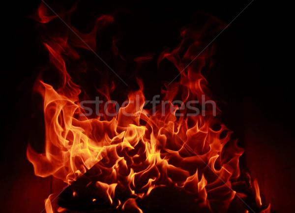Tűz lángok tükröződés sötét természet fény Stock fotó © Nneirda
