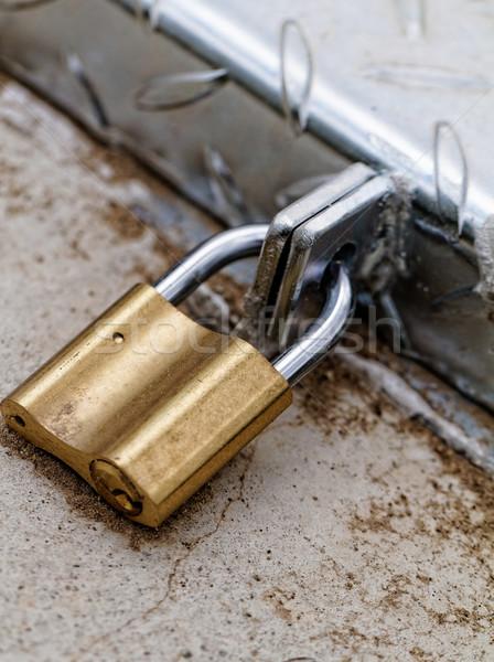 Foto stock: Cadeado · ferro · porta · segurança · trancar · antigo