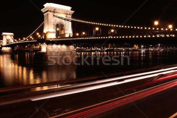 Zincir köprü Budapeşte akşam sokak karayolu Stok fotoğraf © Nneirda