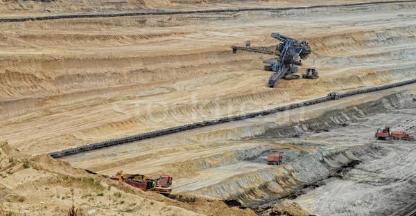 Bánya szén bányászat nyitva füst gyár Stock fotó © Nneirda