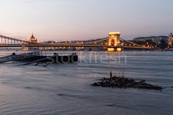 Budapest Foto Hochwasser Wasser Textur Stock foto © Nneirda