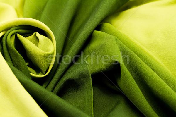 Zielone satyna włókienniczych tle złota Zdjęcia stock © Nneirda