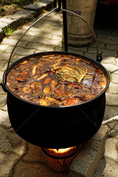 Foto stock: Caldeirão · foto · pão · prato · carne