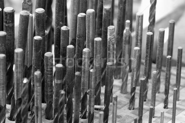 Fúró szett szerszámok fa panel feketefehér Stock fotó © Nneirda