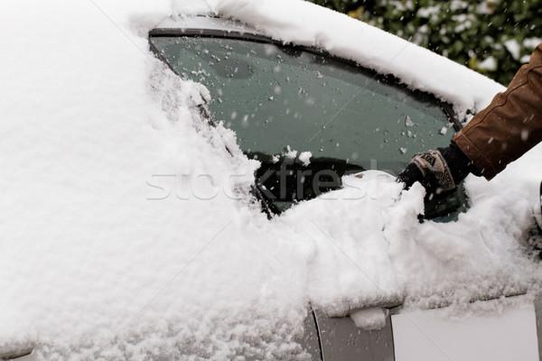 Autó férfi hó jég ablak út Stock fotó © Nneirda
