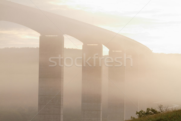 Amanecer grande carretera brumoso otono negocios Foto stock © Nneirda
