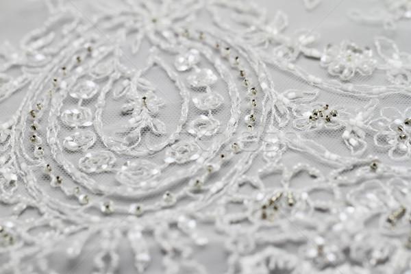 подробность подвенечное платье макроса свадьба свет ткань Сток-фото © Nneirda