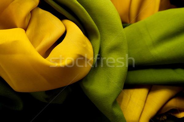 Arany zöld textil szatén közelkép textúra Stock fotó © Nneirda