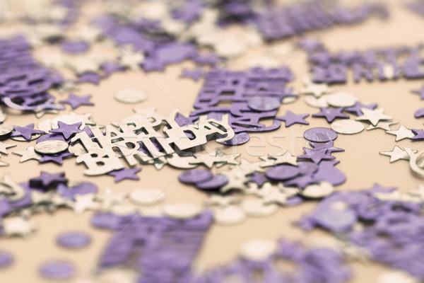 Boldog születésnapot konfetti kék darabok makró fotó Stock fotó © Nneirda