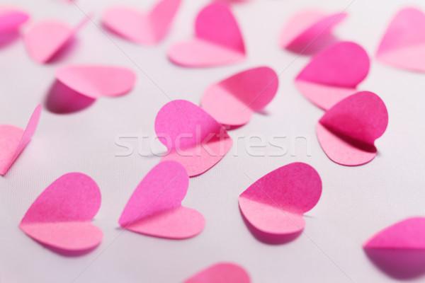 Rosa papel corazones blanco macro foto Foto stock © Nneirda