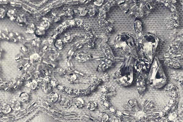 Schönen Spitze Detail Hochzeitskleid Makro Foto Stock foto © Nneirda