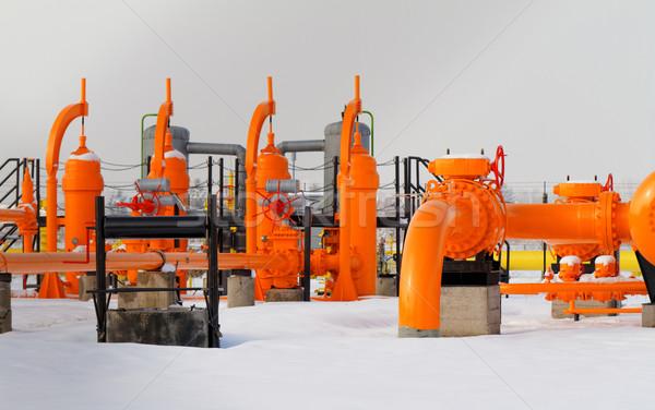Stockfoto: Oranje · gas · pijp · textuur · bouw · technologie